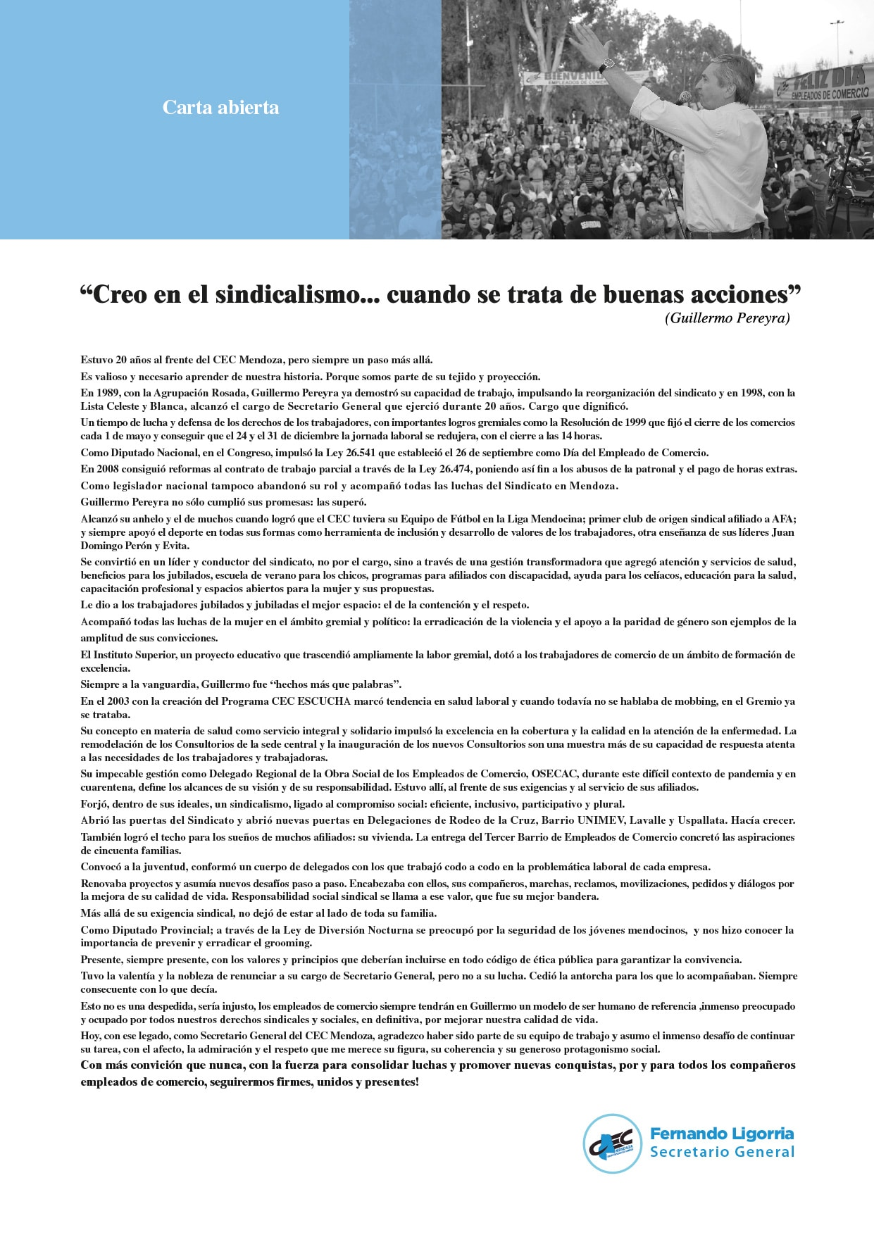 Carta Abierta Guillermo Pereyra